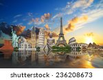 famous monuments of the world... | Shutterstock . vector #236208673