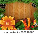 pine branches  bow  ribbons and ... | Shutterstock .eps vector #236210788