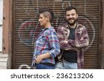 young urban people with... | Shutterstock . vector #236213206