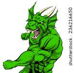 a tough looking green dragon... | Shutterstock . vector #236216650