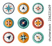 Wind Rose Compass Flat Vector...