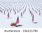 Snow Covered Cemetery With...