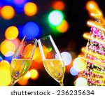 champagne flutes with golden... | Shutterstock . vector #236235634