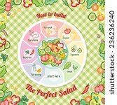 how to build the perfect salad... | Shutterstock .eps vector #236236240
