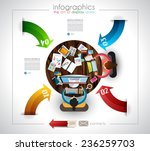 infographic template with flat...
