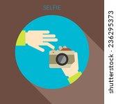 selfie concept. hand of person... | Shutterstock .eps vector #236295373