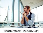 cheerful businessman siting by... | Shutterstock . vector #236307034
