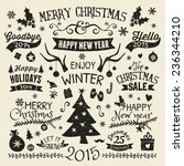 a set of vintage style... | Shutterstock .eps vector #236344210