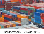 cargo containers stacks at...