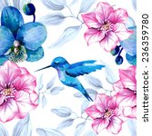 Stock vector watercolor floral seamless pattern with orchid flowers and hummingbird 236359780