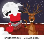 Funny Reindeer With Santa On...