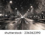 Winter Townscape In A Snowfall...