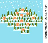 winter flat vector background | Shutterstock .eps vector #236375734