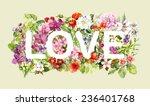 "flowers in text ""love"". retro... | Shutterstock . vector #236401768"