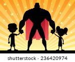 super dad with his kids. no... | Shutterstock .eps vector #236420974