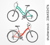 two flat looking city bicycles... | Shutterstock . vector #236432476