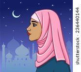 beautiful muslim woman in a... | Shutterstock .eps vector #236440144