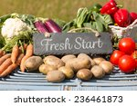 fresh start against vegetables... | Shutterstock . vector #236461873