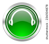 headphones icon  green button  | Shutterstock . vector #236504878