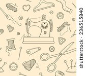 seamless sewing sketch pattern. ... | Shutterstock .eps vector #236515840