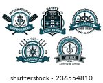 nautical badges and emblems set ...