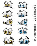 Cartooned Eyes With Blue And...