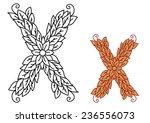 uppercase letter x in a foliate ...