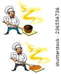 cartooned baker holding bakery...   Shutterstock .eps vector #236556736