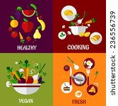 colored fresh healthy food flat ...   Shutterstock .eps vector #236556739