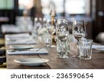 glasses  forks  knives  napkins ... | Shutterstock . vector #236590654