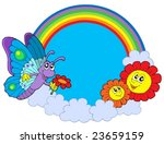 rainbow circle with butterfly... | Shutterstock .eps vector #23659159
