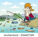 unhappy fisherman | Shutterstock .eps vector #236607184