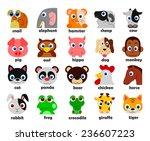 funny animal heads set vector... | Shutterstock . vector #236607223