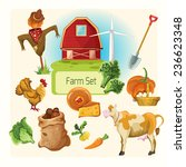 farm decorative icons set with... | Shutterstock . vector #236623348