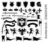heraldic medieval vintage set... | Shutterstock . vector #236624194