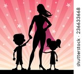super mom with her kids. no... | Shutterstock .eps vector #236633668