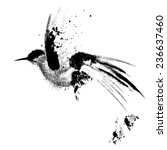 Ink Drawn Flying Bird. 8