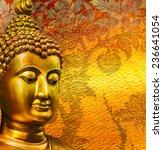 Buddha Gold Statue On Golden...