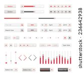 red ui elements vector. button  ...
