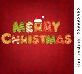 xmas gingerbread cookies text... | Shutterstock .eps vector #236663983