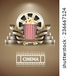 cinema concept with popcorn and ... | Shutterstock .eps vector #236667124
