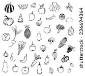 fruits and vegetables sketch... | Shutterstock .eps vector #236694364