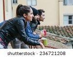 coffee break. three friends... | Shutterstock . vector #236721208