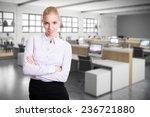 attractive blonde woman in... | Shutterstock . vector #236721880