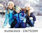 Happy Family In Winter Park....