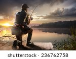 young man fishing at misty...   Shutterstock . vector #236762758