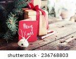 christmas present on dark...   Shutterstock . vector #236768803
