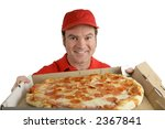 A Pizza Delivery Man Holding A...