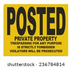 yellow plastic posted private... | Shutterstock . vector #236784814