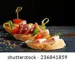 tasty sandwiches on wooden... | Shutterstock . vector #236841859